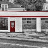 Old Garage with Red Trim